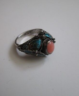 Vintage OLD CHINESE Enamel Butterfly STERLING SILVER Signed RING Art Deco