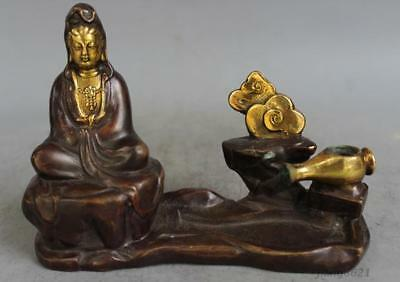 "6"" Collectibles Chinese Pure Copper Gilt Gold Old Handwork Guanyin Statues"