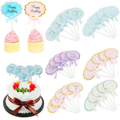 10Pcs Happy Birthday Cupcake Toppers Baby Shower Kids Party Cake Decorating