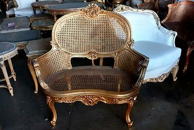 French Gilt Louis XV Cane Caned Settee Petite Canapé Settee Chair