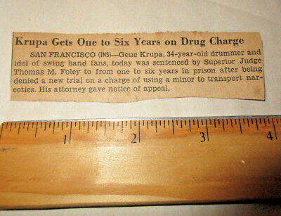 Original Newspaper clip 1940s Gene Krupa Gets One To Six years On Drug Charge
