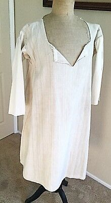 Antique French 19th Century Monk Shirt Mid1800's Métis Linen Flax Size M/L Rare!