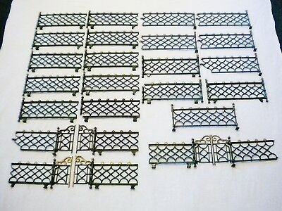 Lot of Vintage Cast Iron Toy Victorian Fence Doll House Train - 31 Sections
