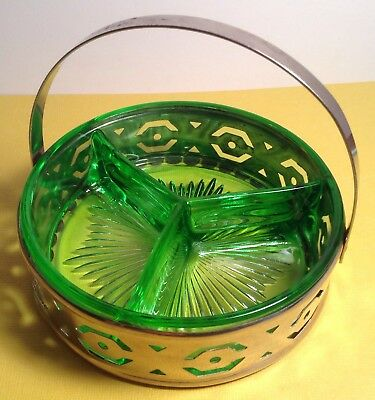 Vintage Art Deco Design Green Depression Glass Divided Dish W/metal Holder Nice