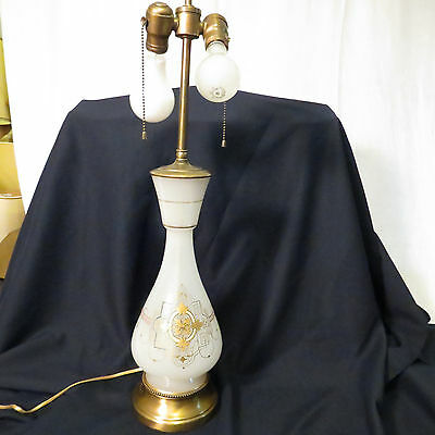 Antique table lamp frosted glass painted two bulb & chain white vintage art deco
