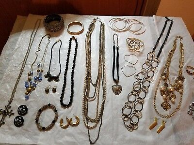 HUGE LOT OF VTG-NOW GOLD/SILVER TONE JEWELRY #41 2 Signed 1928 & Kenneth Cole