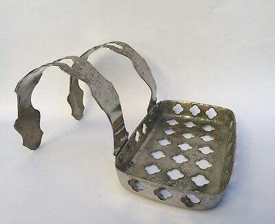 Vintage Antique Victorian Claw Foot Tub Soap Dish Holder - Nickel plated brass.