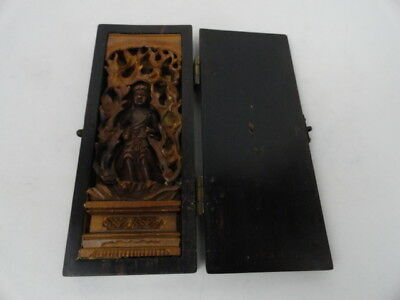 Antique Pocket Size Wooden Folded Box Contains Hand Carved Wooden Hindi Figurine