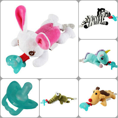 1Pc Infant Baby Boy Girl Silicone Pacifiers Cuddly Plush Animal Baby Nipples