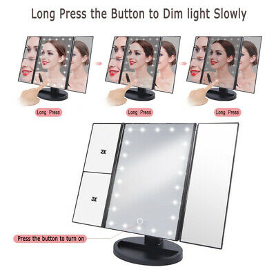 22 LED Light Cosmetic Illuminated Desktop Stand Makeup Mirror with Touch Screen
