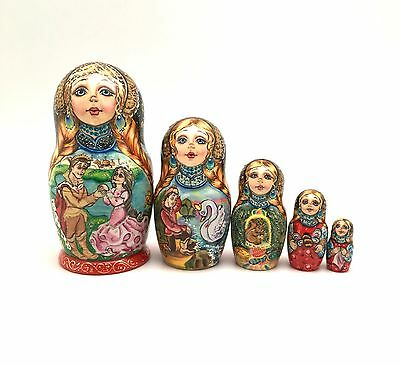 Russian Fairy Tale Tsar Saltan Nesting DOLL Hand Carved Hand Painted Signed