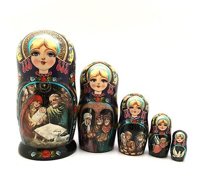 Nativity Russian Nesting DOLL Hand Carved Hand Painted Signed ART