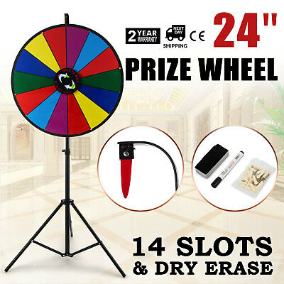 24 Inch Color Prize Wheel Folding Tripod Floor Stand Carnival Dry Erase 14 slots
