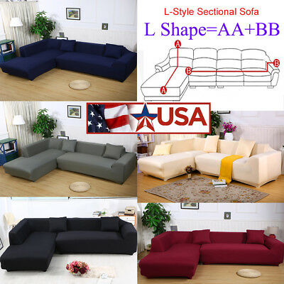 8 Colors Sofa Covers L Shape 2pcs Fabric Stretch Slipcovers For Sectional Corner