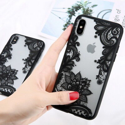 For iPhone 8 7 6S Plus 5S Lace Mandala Ultra-thin Acrylic Clear Back Case Cover