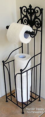 Rustic Metal Toilet Roll Holder Storage Stand French Free Standing - Black BA92