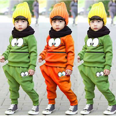 Baby Boy Girls Kids T-shirt Tops+Pants Sweater Outfit Sportswear Clothes Set