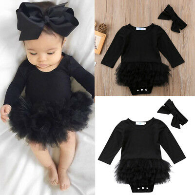 Newborn Baby Girls Infant Romper Jumpsuit Bodysuit Clothes Hairband Outfit Set