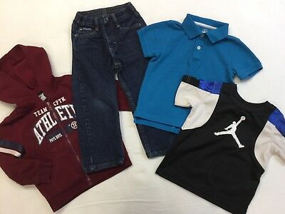 Boy's Size 3T Lot Of 4 Pieces Air Jordan Jump Man Wrangler Jeans Shirts Hoodie