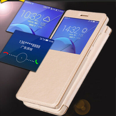 For Huawei P8 P9 P10 Lite Y6 Pro 2017 Luxury Slim Window Leather Flip Case Cover