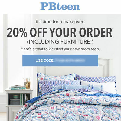 20% off POTTERY BARN TEEN promo-coupon code online Exp 1/25/18 pbteen 10 15