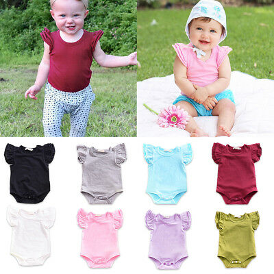 Newborn Baby Girls Ruffle Fly Sleeve Romper Jumpsuit Bodysuit Outfits Clothes