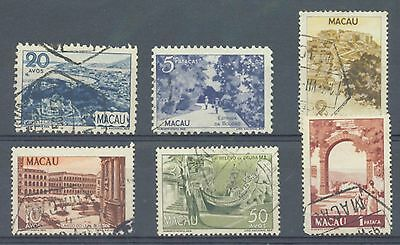 Macao 1948-50 Pictorials sg.415, 422, 428, 431, 433-4 used