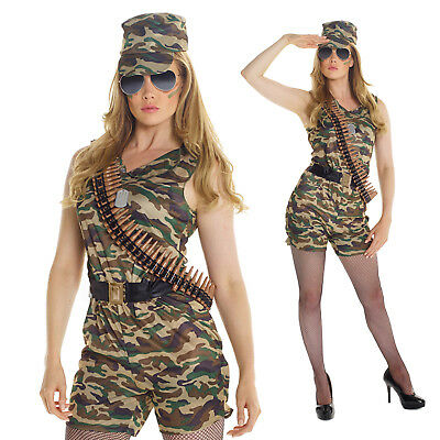 Womens Sexy Army Soldier Girl Fancy Dress Costume Military Combat Chick Outfit