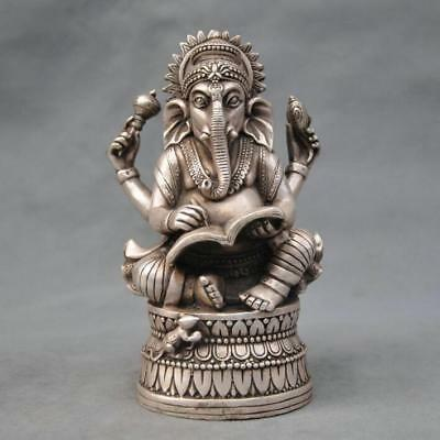 Chinese old  Silver Bronze Buddhism Elephant Ganesha God of Wealth Statue