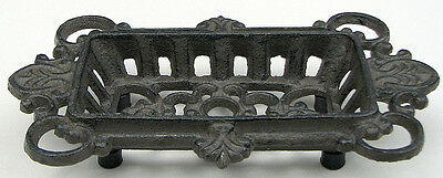 Cast Iron Ornate Soap Dish  Antique Reproduction Rustic Brown French Decor