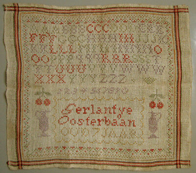 Cute! Antique Dutch Cross Stitch Sampler Signed Gerlantje Oosterbaan 7 Years Old