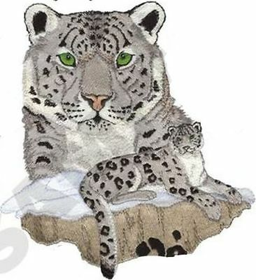 """Snow Leopard, Wild Animal, Exotic Cat Embroidered Patch 8""""x 8.7"""""""