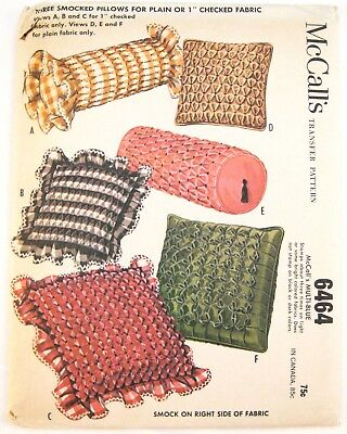 Vtg 60s McCall's 6464 Smocked Pillows Cushions Plain Checked Gingham Fabrics FF