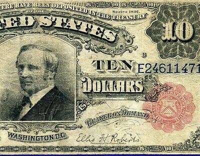 Fr-300 1891 $10 Silver Certificate *** Tombstone *** Red Seal # E24611471