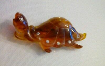 Vintage Carved Faux Tortoiseshell Lucite with Embedded Rhinestones TURTLE Brooch