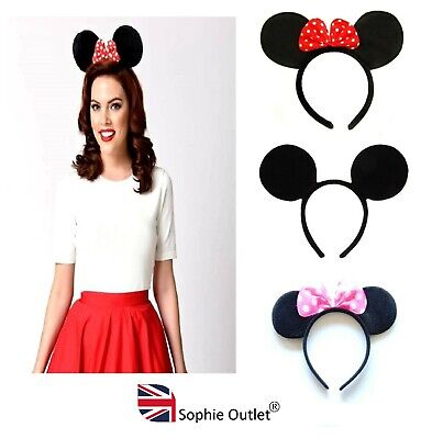 MOUSE EARS HEADBAND Fancy Dress Alice Band Spotted Bow Ladies Girl Red Pink Bow