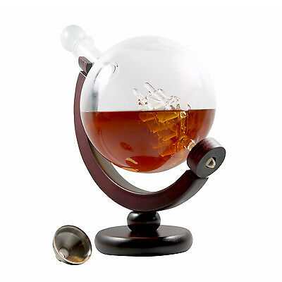 Whiskey Decanter Spirits Wine Bourbon Glass Globe Ship 28 Oz Gift Bar Father Dad