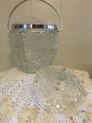 Vintage Anchor Hocking Wexford Ice Bucket Crystal Wexford Pattern Chrome Handle