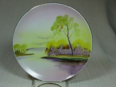 "Meito China Hand Painted 6 1/2"" Landscape Plate Yellow Sunrise Scene Gold Trim"