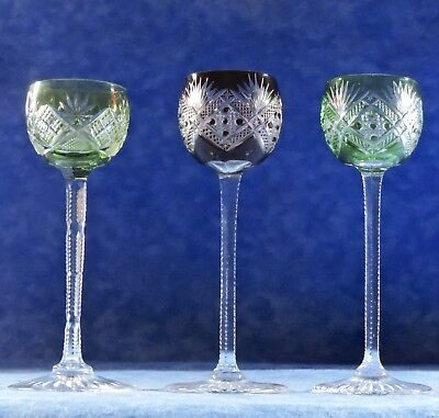 "3 Vtg. Czech Bohemian Red & Green Cut To Clear 5 1/4"" Aperitif Cordial Glasses"