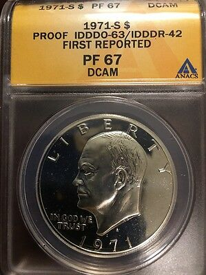 1971 S Eisenhower Dollar Proof IDDDO-63/IDDDR-42 First Reported! ANACS PF 67DCAM