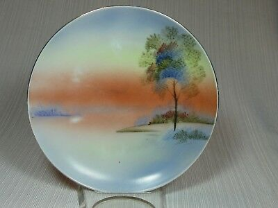 "Meito China Hand Painted 6 1/2"" Landscape Plate Orange Sunset Scene Gold Trim"