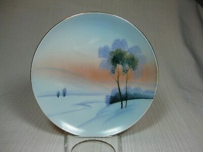 "Meito China Hand Painted 6 1/2"" Landscape Plate Blue Winter Scene Gold Trim"
