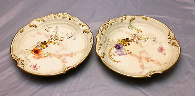 Pair of M Redon Limoges Hand Painted Serving Bowls, M R France Late Victorian