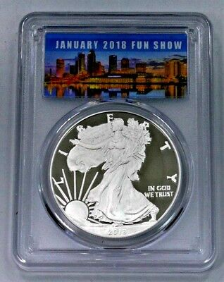 2018-W Proof Silver American Eagle PCGS PF70DCAM First Strike--TAMPA 2018 LABEL