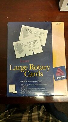 """Avery-laser-Ink-Large-Rotary-Cards-150-White-3"""" x 5"""" #5386 - Brand New Sealed!"""