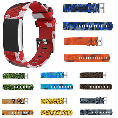 NEW  For Fitbit Charge 2 Replacement Wrist Band Camo Soft Strap Bracelet Buckle