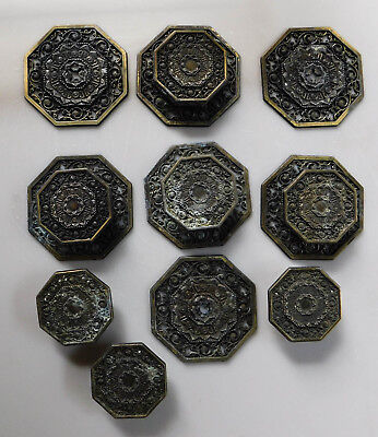 7 Vintage Ornate Metal Drawer Pulls Plates Knobs Gold Black Mid Century