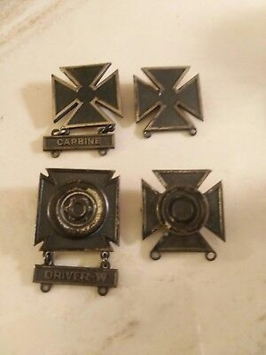 VINTAGE STERLING SILVER WWll MARKS MAN BADGE MILITARY SERVICE 4 PC SET