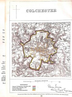 Colchester.Essex.Boundary Commissioners report.1868.Map.Antique.Plan.Genuine
